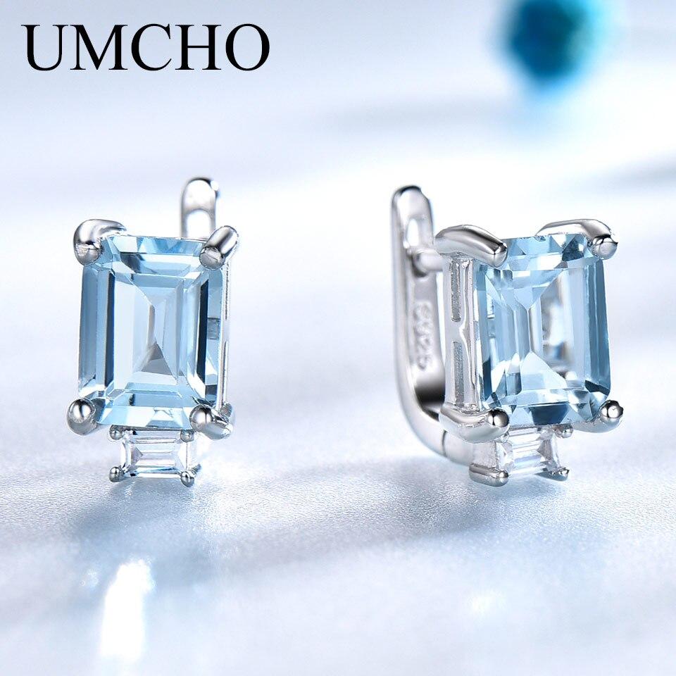 UMCHO Céu Azul Topázio Brincos Clipe para As Mulheres Sólidos 925 Sterling Silver Princesa Corte Na Moda 925 Jóias de Prata Pedra de Nascimento Presente