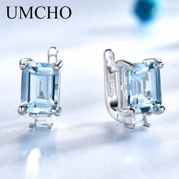 UMCHO Sky Blue Topaz Clip Earrings for Women Solid 925 Sterling Silver Princess Cut Trendy Silver 925 Jewelry Birthstone Gift - DISCOUNT ITEM  55% OFF All Category