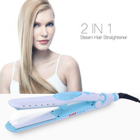 CkeyiN Ceramic Steam Hair Straightening Flat Iron Electric Hair Straightener Water Moisturizing Straightening Plate Styling Tool