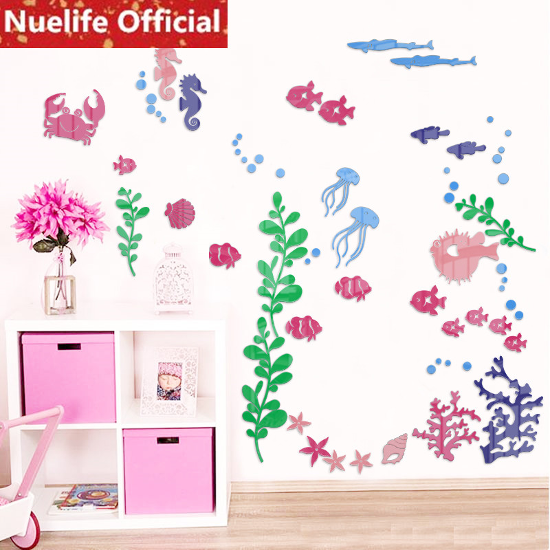 Coloré Marine fantaisie aquarium design 3D stickers muraux maternelle salon chambre enfant chambre fond stickers muraux N3