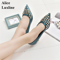 2017 Thin Heel Shoes Woman Black Green Pink Pumps Shallow Woman Sexy Pointed Toe Heels Rivets