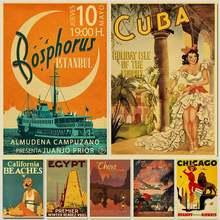 Retro viagem de hollywood/cuba poster retro kraft viagens poster decorativo adesivo de parede para casa barra decoração presente do miúdo arte para casa