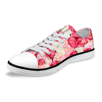 NOISYDESIGNS Cute Women Pink Floral Pattern Low Canvas   Shoes   Casual Female   Vulcanize     Shoes   for Teen Girls lady Floal Flat   Shoes