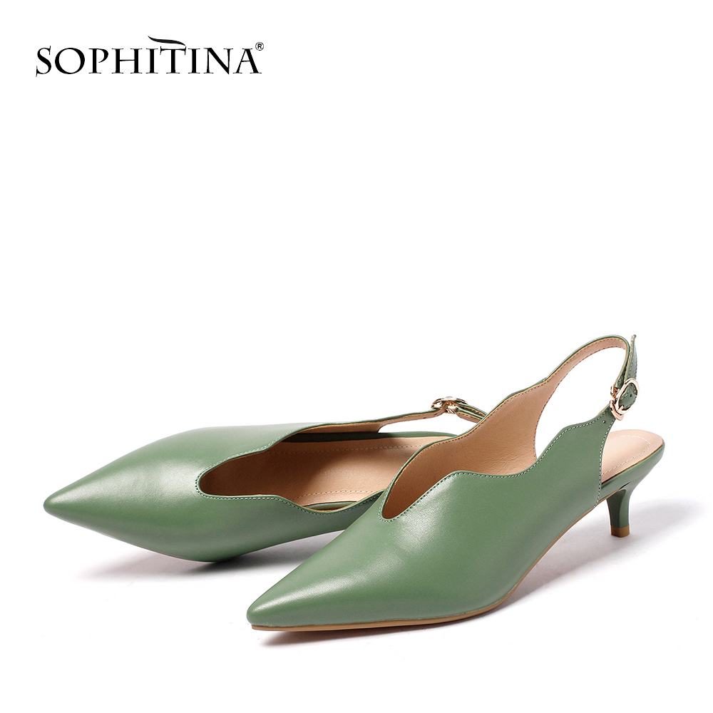 SOPHITINA Genuine Leasther Gladiator Women Pumps Fashion Buckle Strap Party Lady Shoes Elegant Thin Heel Back