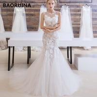 Vestidos de Novia Sexy Backless Mermaid Wedding Dress 2018 Lace Appliques Robe de Mariage Court Train Matrimonio Trouwjurk new