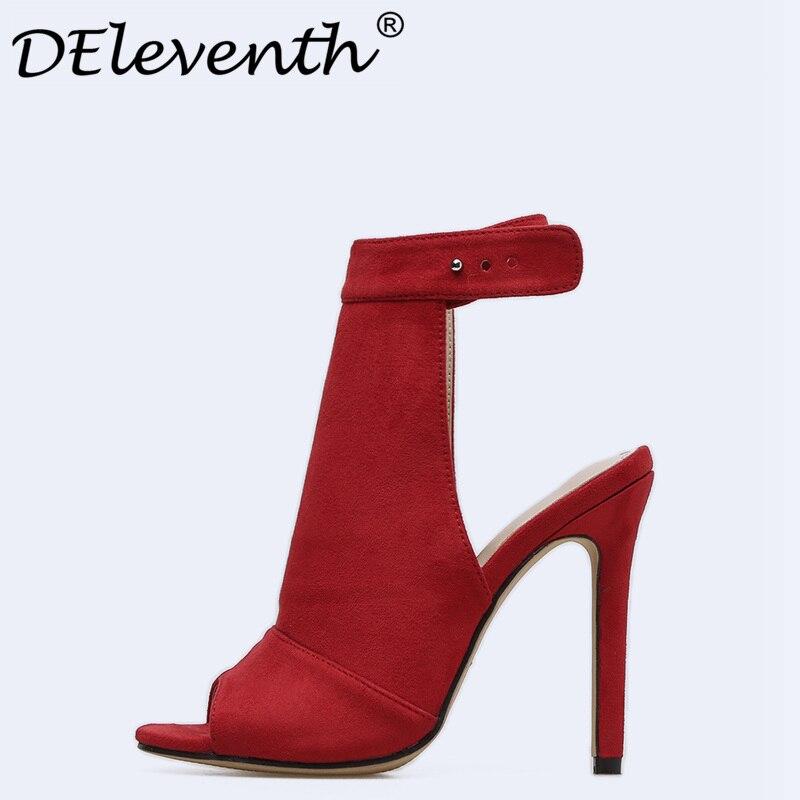 Chaussures Talons toe Daim Mode rouge De Sandales Vente En Chaude Deleventh Rouge Sexy Haut Stiletto Noir Partie Femmes Robe Mariage Escarpins Peep 0ExEHPwq6