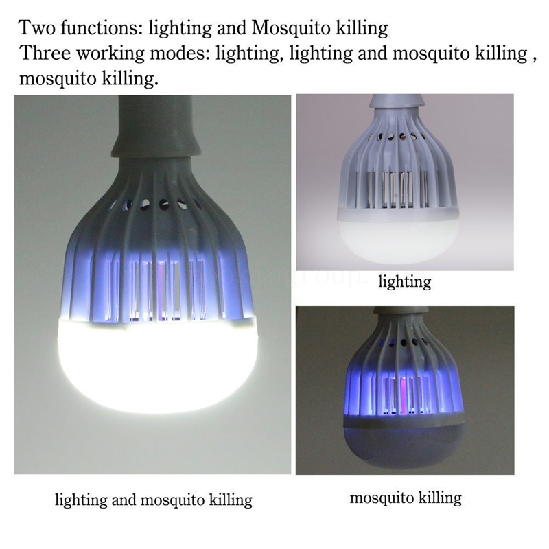 LED Mosquito fly bugs uv light killer lamp with 18w 1200Lumen white light AC85-265V socket electric mini mosquito lamp led insect mosquito repeller killing fly bug insect night housefly freeshipping