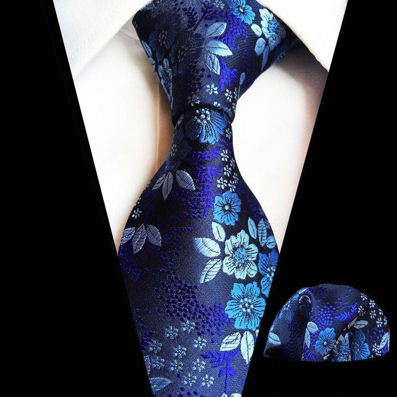 Mans Blue  Flower Tie Set 100% Silk Jacquard Floral Necktie Square Hanky Suit Wedding Tie Set Gift For Man
