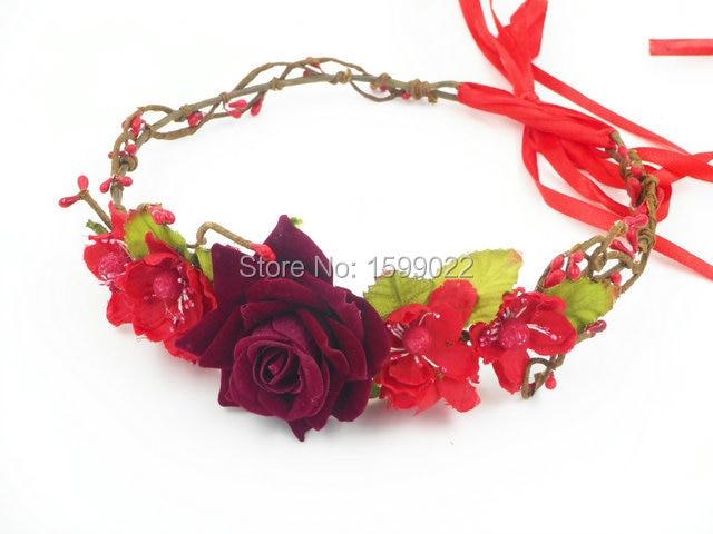 Wedding Tiara Burgundy Flower Crown Headband Rhinestone Hair Accessories Jewelry