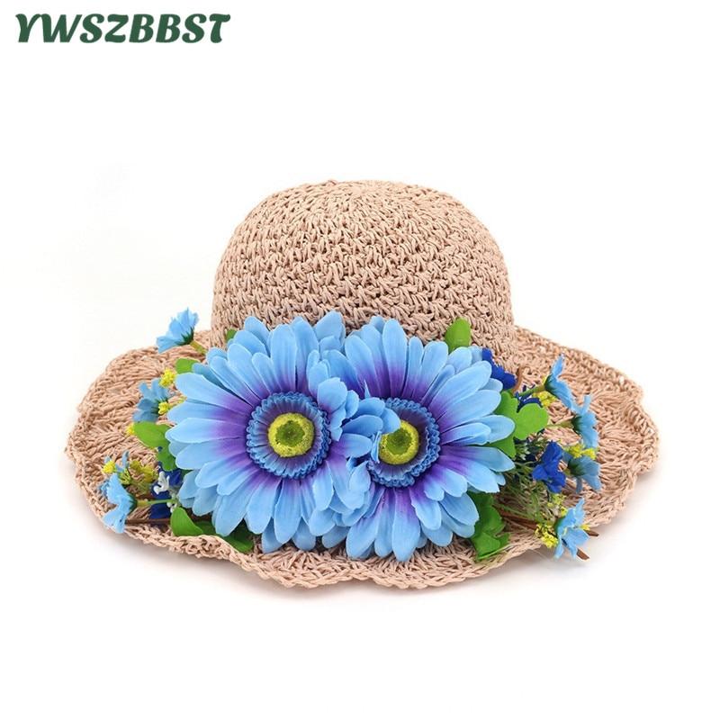 New Summer Women Sun Hats Lady Wide Large Brim Foldable Straw Hat Spring Flowers Cap Women Sunscreen Beach Cap Girl Bucket Hat
