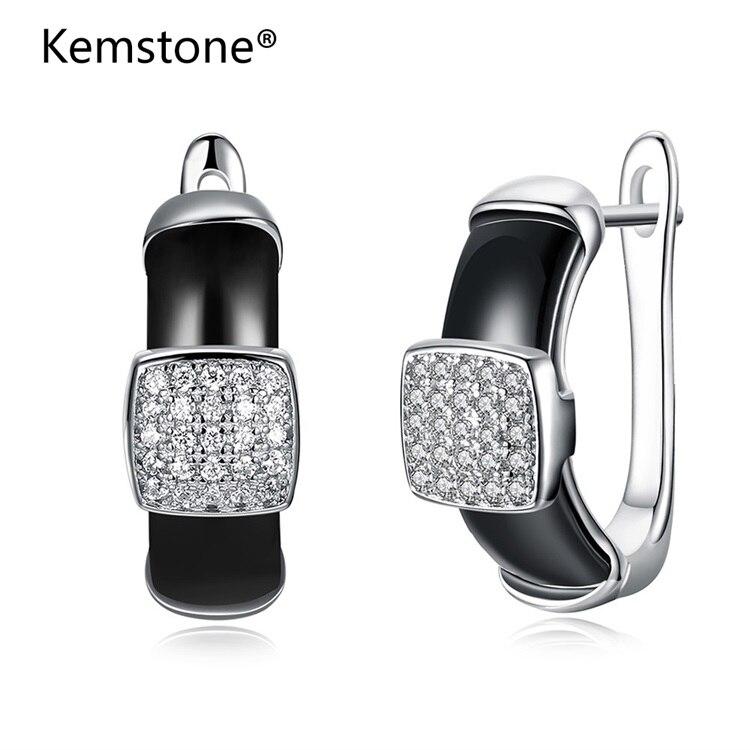 Kemstone Fashion Sterling Silver Earrings Elegant Square Crystal Black & White Ceramic Stud Earrings U Shape for Women fashion black and white paisley pattern square shape flax pillowcase without pillow inner