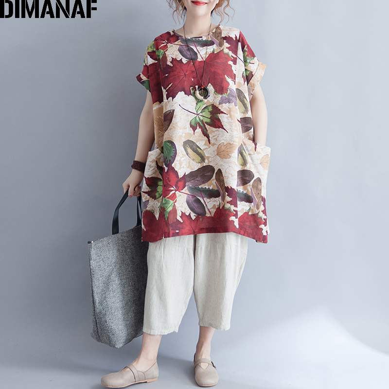 DIMANAF Women T-Shirt Summer 2018 Plus Size Basic Tops Tees Linen Thin Print Leaves Female Casual Loose Long tshirts Big Pockets
