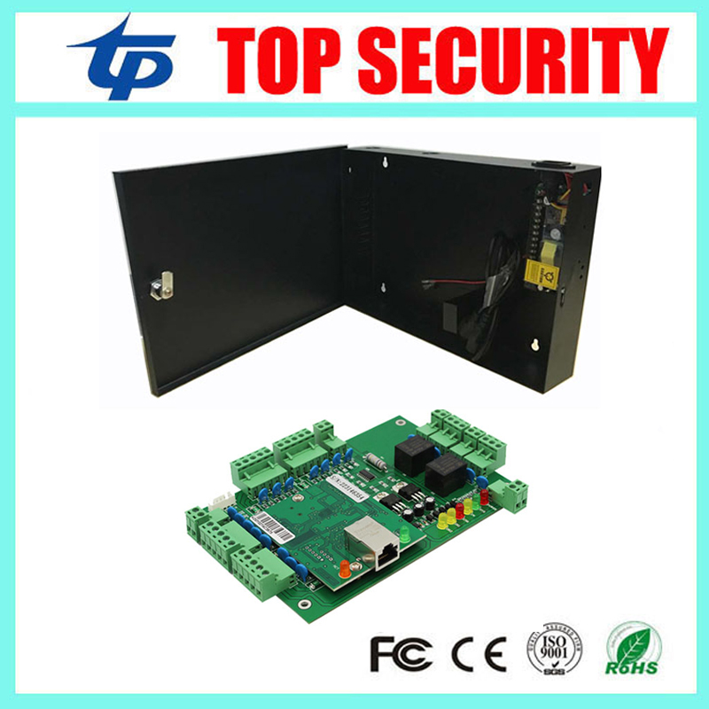 Two door access control panel access control board TCP/IP two doors access control system with 12V5A power supply box battery