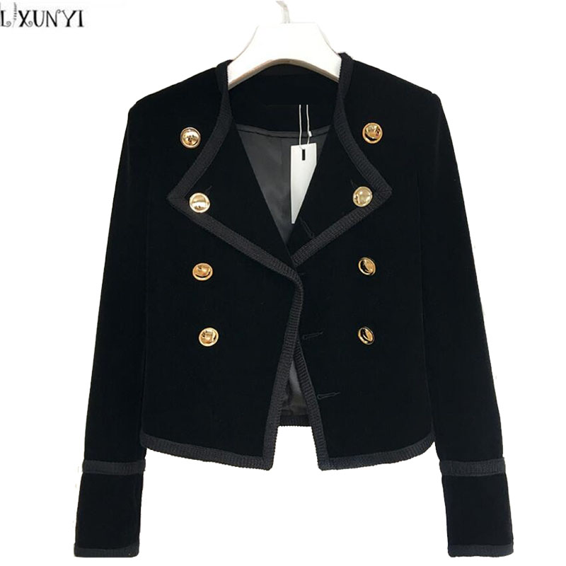 LXUNYI Hot Sale 2017 Autumn Women Velvet jackets And Coats Short Fashion Slim Thin Double Breasted Velvet jacket ladies Button