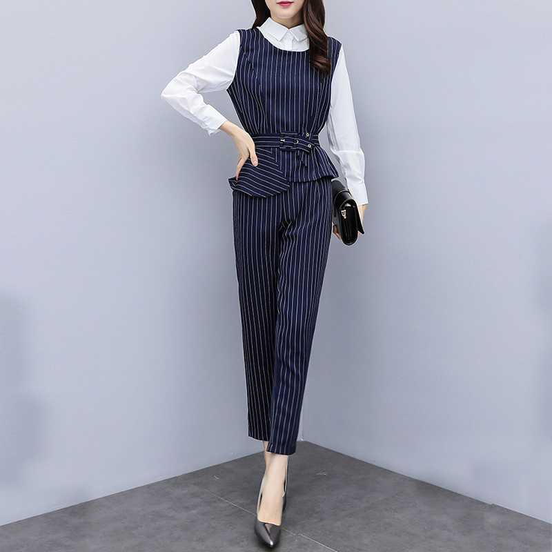 new arrival fashion temperament comfortable patchwork cute shirt vintage pant wild trend work style plus size striped women sets