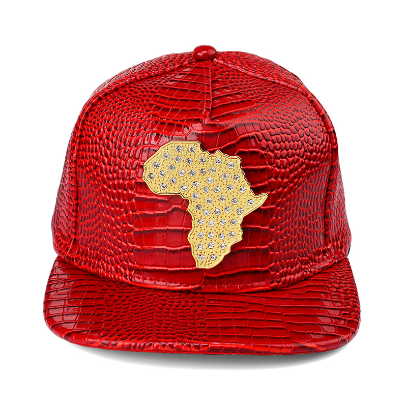 80380985888 New style PU Leather Map of African Baseball caps men wome Diamond Gold  snapback hat Crocodile Grain DJ hip hop hats-in Baseball Caps from Apparel  ...