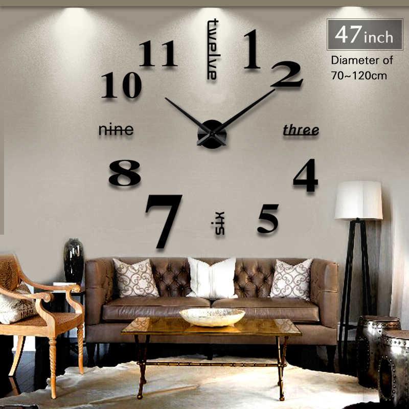 2019 جديد ديكور المنزل مرآة كبيرة ساعة حائط التصميم الحديث ثلاثية الأبعاد لتقوم بها بنفسك كبيرة ديكور ساعة حائط s ساعة الحائط هدية فريدة