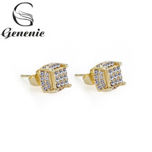 1pair Fashion Yellow Gold Filled White Zircon Birthstone Ear Studs Earring Bride Princess Wedding Engagement New Arrival(China)