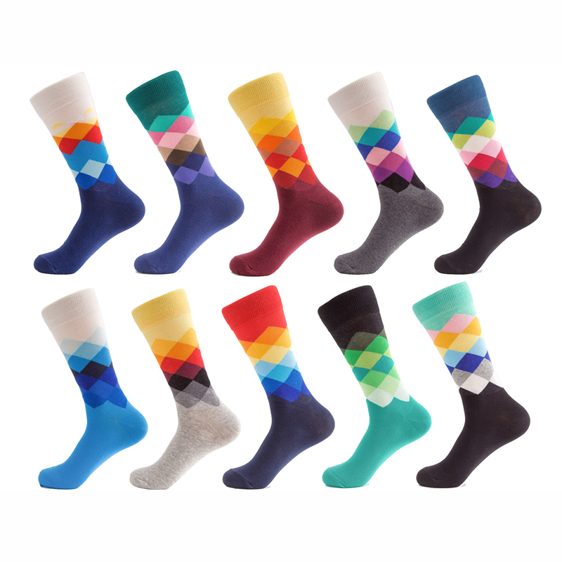 5 Pair/Lot Brand Quality Mens Happy Socks 10 Colors Colorful Diamond Funny Socks Men Combed Cotton Calcetines Largos Hombre