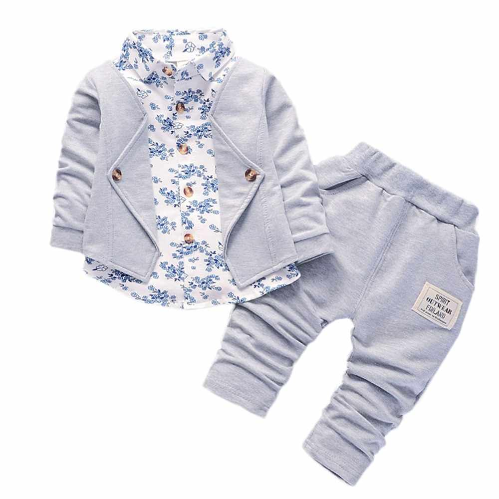 dfd62e736 Kid Baby Boy Gentry Clothes Set Formal Party Christening Wedding Tuxedo Bow  Suit Long sleeve gentleman floral small suit#30