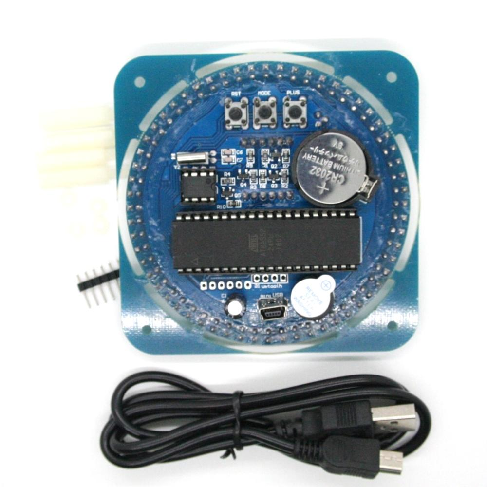 Assembled DS1302 Rotating LED Electronic Digital Clock Kit 51 SCM Learning Board 5V