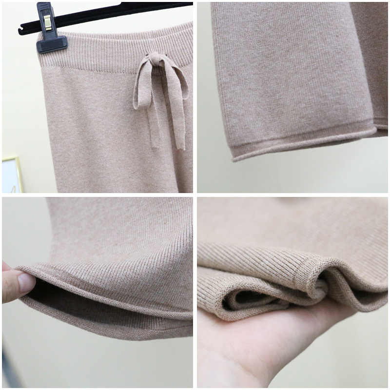 Womens Autumn Winter Loose Cashmere Blend Knitted Ankle PantsThickening Warm Curled Hem Knitting Trousers Female Winter Pants