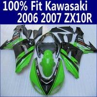 100% подходит для Обтекатель KAWASAKI Ninja ZX 10R 2006 2007 цвета: зеленый, Черный ABS комплект обтекателей ZX10R 06 07 HJ22 + 7 подарки