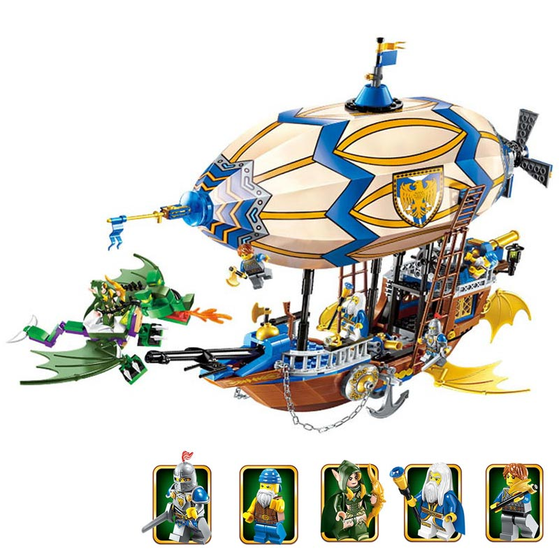 New 2017 War of Glory 669pcs Castle Knights Sliver Hawk Balloon Ship 5 Figures Building Blocks Brick Toys For Children enlighten new 2315 656pcs war of glory castle knights the sliver hawk castle 6 figures building block brick toys for children