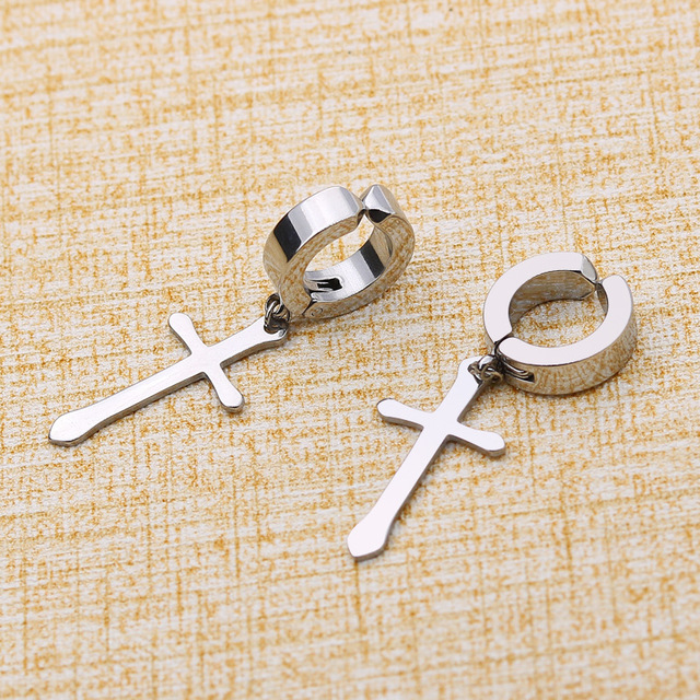 Stainless Steel Clip On Non Piercing Dropping Earrings For Women Men Black Silver Gold Cross Gothic.jpg 640x640 - Stainless Steel Clip On Non Piercing Dropping Earrings For Women Men Black Silver Gold Cross Gothic Punk Rock Pendientes Falsos