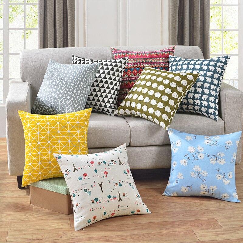 SunnyRain 1-Piece Linen Cotton Double-Faced Printed CushionCover Decorative Pillow Cove Linen Square Throw Pillow Cover 45x45cm