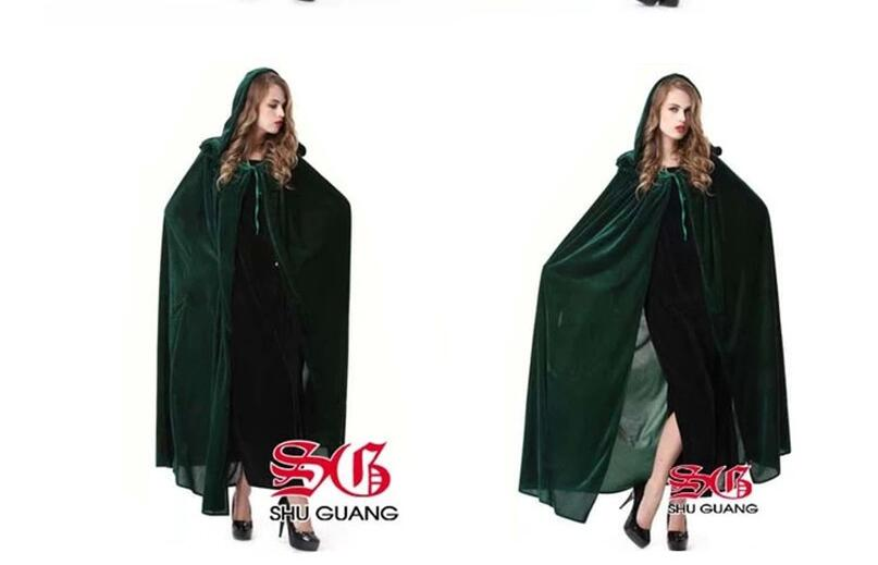 Blue Green Halloween cape Cloak Halloween Cosplay Costume Party Dress The Witch Cloak Witch Costume new