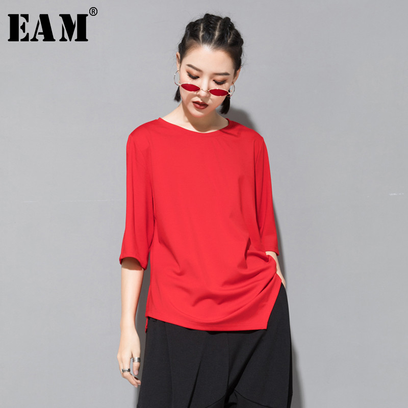 [EAM] 2020 New Spring Summer Round Neck Three Quarter Sleeve Black Irregular Split Joint Loose T-shirt Women Fashion Tide JS996
