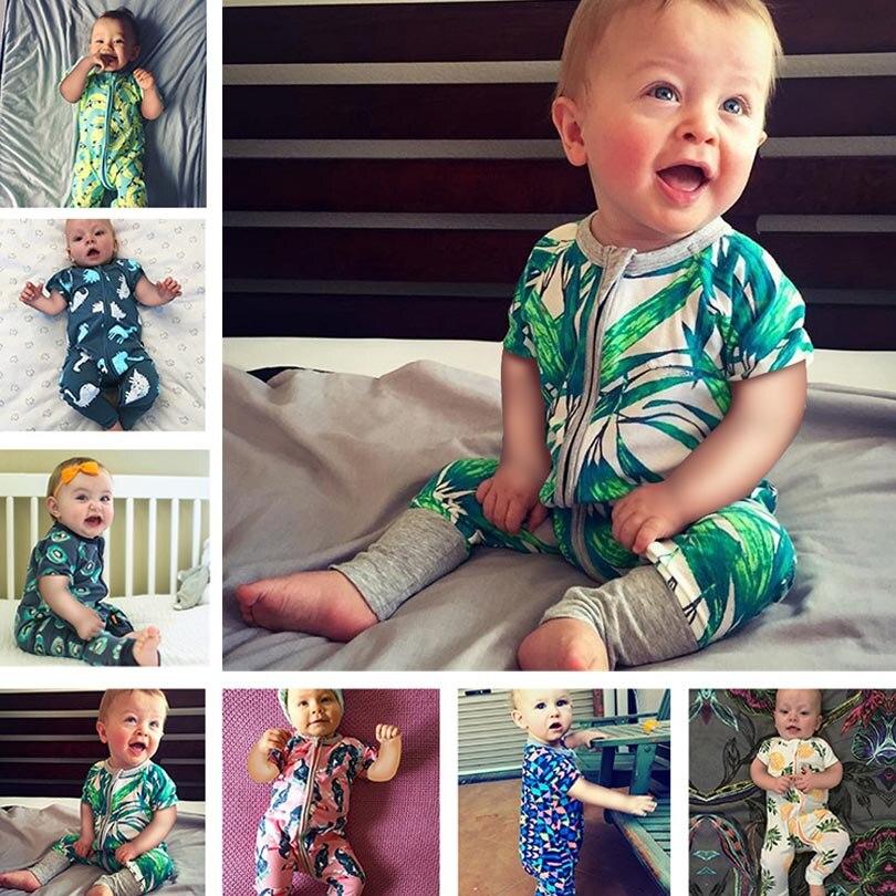 Boys Girls Cotton   Rompers   Cartoon Baby Short Sleeve Jumpsuit 2019 Summer Toddler Newborn Kids Clothing Zipper   Rompers