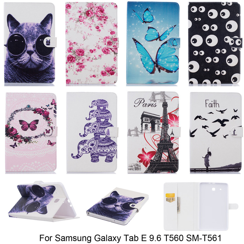 купить Cartoon Butterfly Elephant Pattern Cover For Samsung Galaxy Tab E 9.6 T560 SM-T560 Case PU Leather Tablet Stand With Card Slot недорого