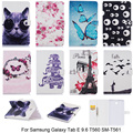 Cartoon Butterfly Elephant Pattern Cover For Samsung Galaxy Tab E 9.6 T560 SM-T560 Case PU Leather Tablet Stand With Card Slot