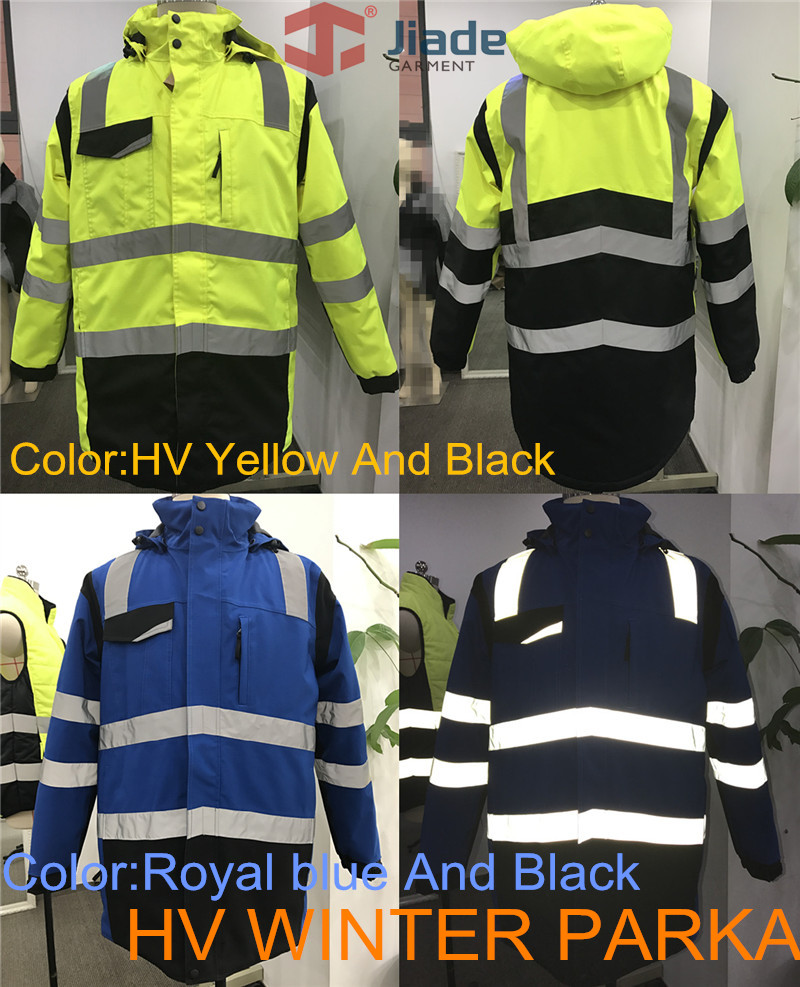 Jiade Men's Work Wear Winter Parka Reflective Winter Parka High Visibility Winter Jacket fluorescence yellow high visibility