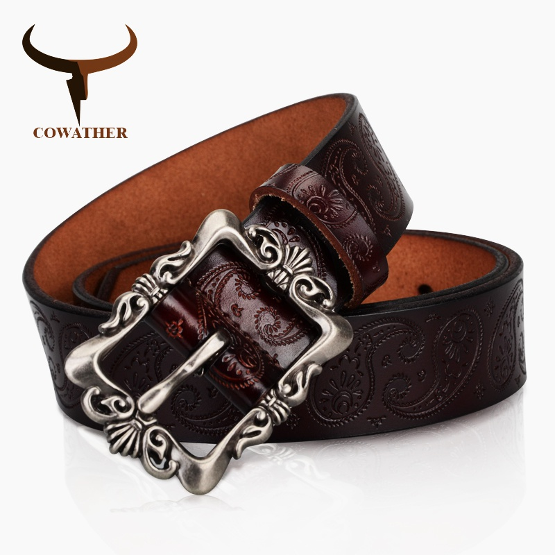 COWATHER 2019 cow genuine leather   belts   for Women luxury strap female   belt   Cashew flowers high quality pin buckle 3.2cm XF022