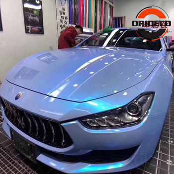 2019 New Super Glossy Chameleon Double Colors Gray Blue Candy Car Vinyl Wrap Chameleon Candy Decal Wrap ORINO Vehicle Foil