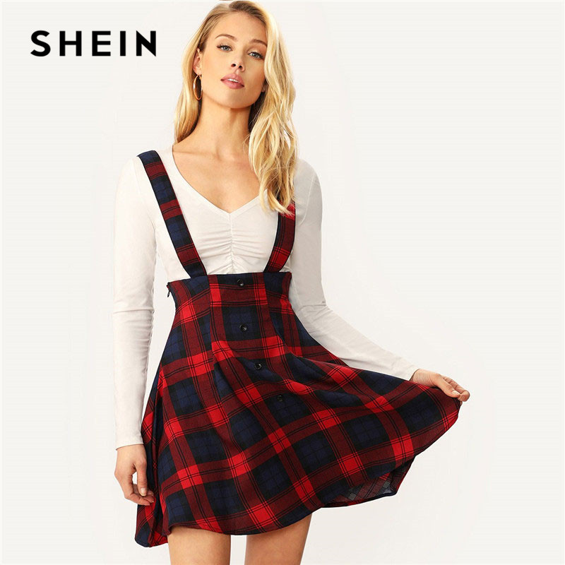 SHEIN Women Multicolor High Waist Button Front Tartan Mini Skirt With Thick Strap Spring Autumn Preppy A Line Plaid Skirt 1