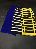 3 Colors Ladies HL Bandage Skirts Knee Length Sexy Bodycon Skirts Striped Sexy Club Night Skirts