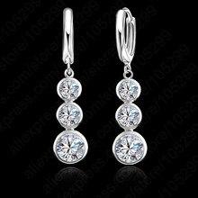 Jemmin European Simple 925 Sterling Silver Drop Earrings Jewelry Women Austrian Crystal Dangle Earring For Wedding Bijoux