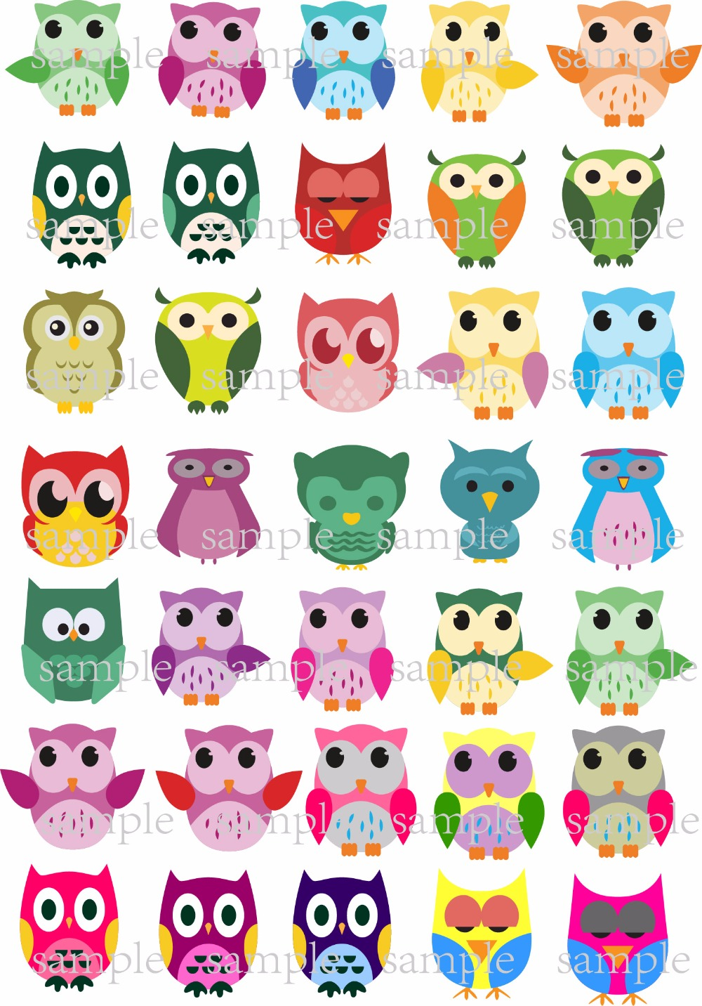 Tremendous 35 Owl Edible Cake Topper Wafer Rice Paper For Cake Cookie Cupcake Personalised Birthday Cards Sponlily Jamesorg