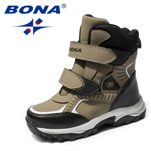 Image 4 - BONA New Classics Style Children Boots Hook & Loop Boys Snow Boots Leather Boys Ankle Boots Outdoor Fashion Sneakers