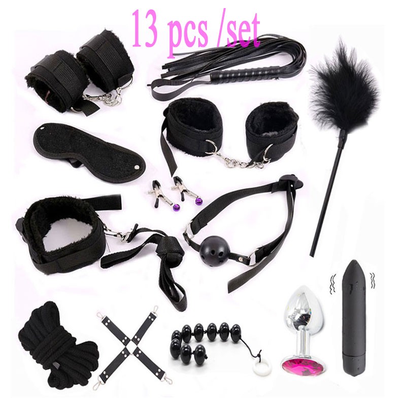 Sex Toys for Woman Adult Games Handcuffs Whip Mouth Gag Rope Metal Butt plug Bdsm Bondage Set Bead Anal plug Vibration