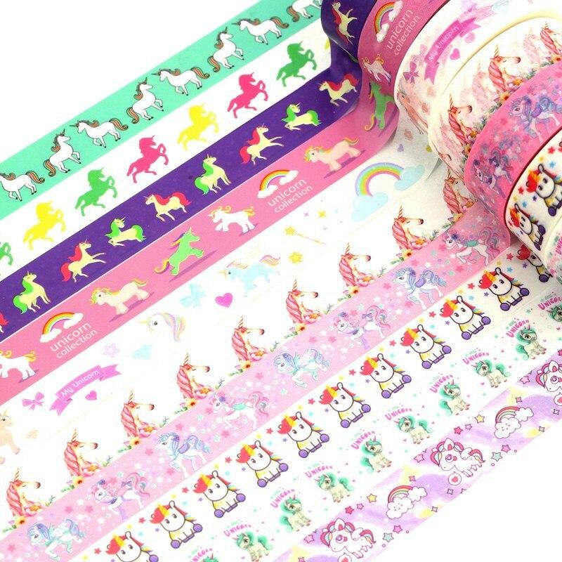 10pcs/lot Decor Japanese Washi Tape Unicorns Set 1.5cmx10m Custom Print Scrapbooking Masking Tape Adhesive Paper Tapes Wholesale