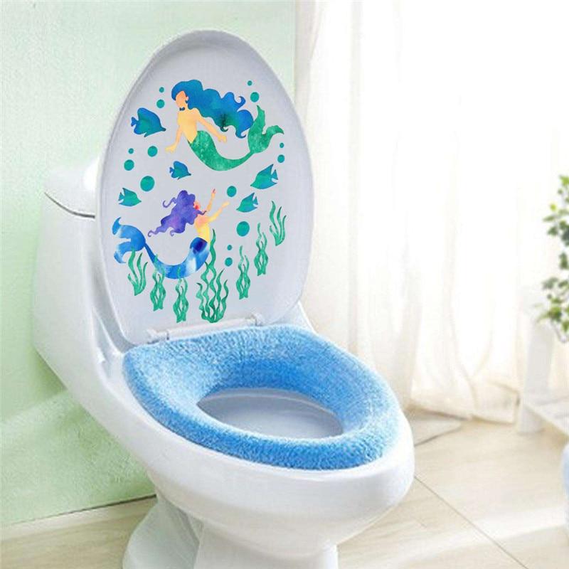 Underwater Mermaid Fish Wall Stickers Decals Art Bathroom Window Refrigerator Toilet Bathroom Decoration