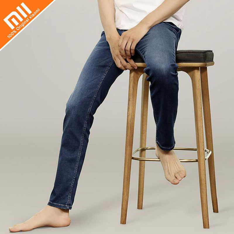 Original xiaomi COTTONSMITH day silk cotton jeans men's comfortable jeans trousers narrow feet fashion wild summer cool jeans edging design bleach wash zipper fly narrow feet slimming men s jeans