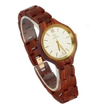 Hot! 2017 New Women Wooden Watch Casual Red Sandal Wood Watch Gold Swiss Movement Quartz Wooden Wristwatch Rare Slim Unique Gift