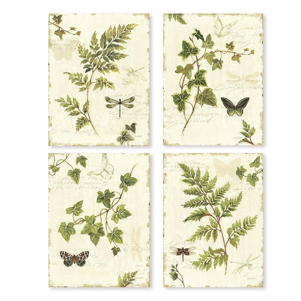 Vintage hojas verdes vidas y helecho acuarela estilo art prints 4 en ...