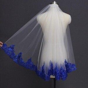 Image 2 - Royal Blue Lovertjes Lace Wit Ivoor Bruidssluier Een Laag Korte Shine Bruiloft Sluier met Kam Velos de Novia